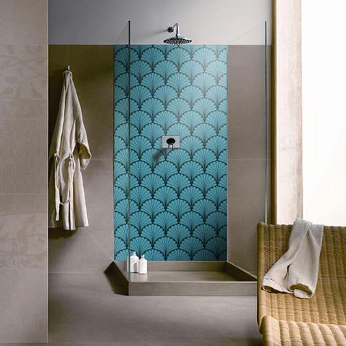 donner un style art déco à sa douche, crédence sur mesure Rosace Art Déco