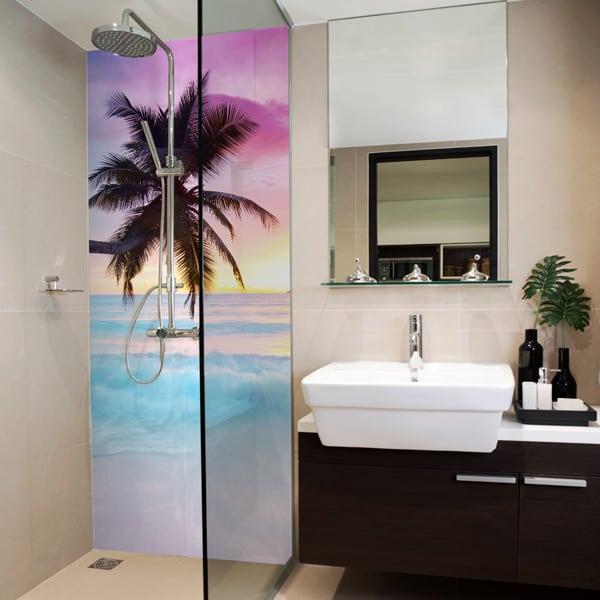 photo plage, coucher de soleil et palmier à coller dans la douche