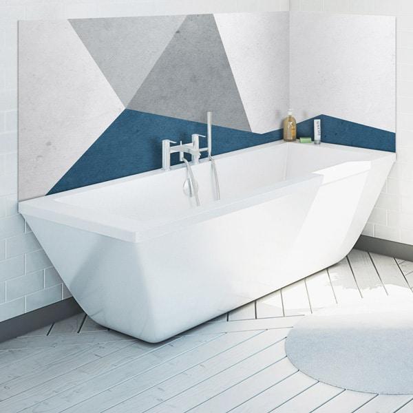 panneau décoratif, habillage mur salle de bains, panodeco aspect matière, modèle peinture bleue