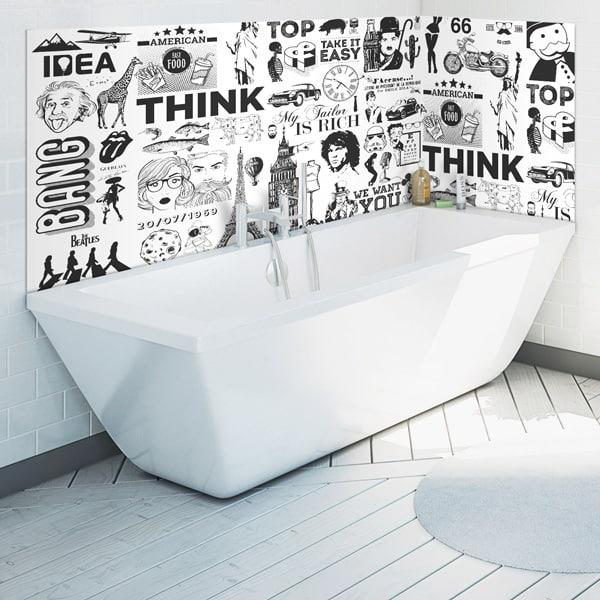 Habillage mur salle de bains, crédence étanche et design, ambiance urban chic, pêle mêle