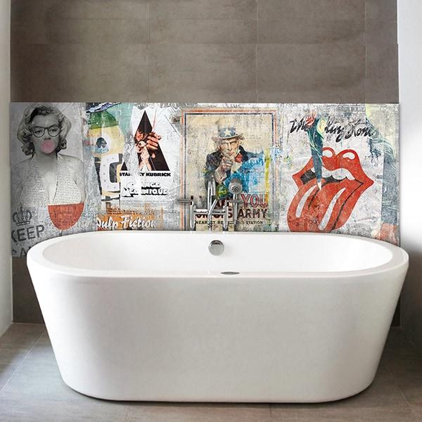 panneau décoratif, habillage mur salle de bains, panodeco urban chic, modèle poster wall