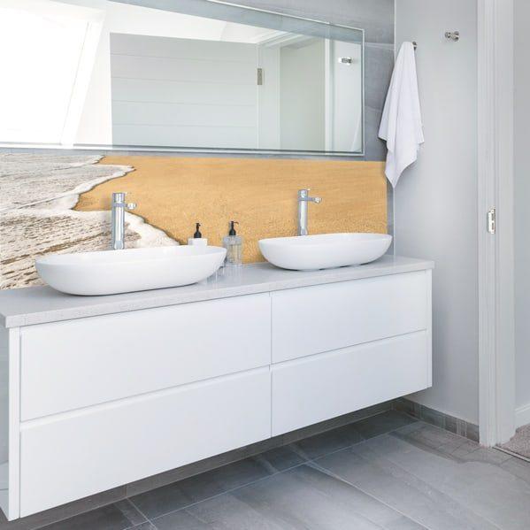 Recouvrir ancien carrelage salle de bains, panneau aluminium composite sur-mesure, décor écume