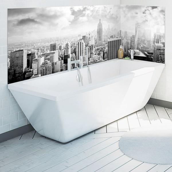 crédence ambiance voyage, vue sur Manhattan noir et blanc, étanche pour la salle de bains