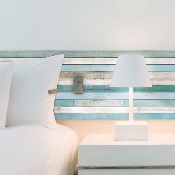 Tête de lit aluminium composite, effet bois peint bleuté