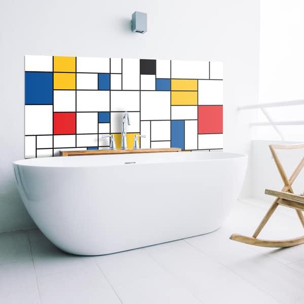 Crédence baignoire aluminium composite, aspect mat ou brillant, dimensions personnalisables, décor Mondrian