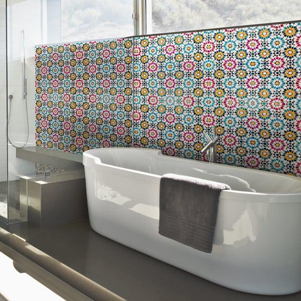 Crédence pour salle de bains type mosaïque orientale