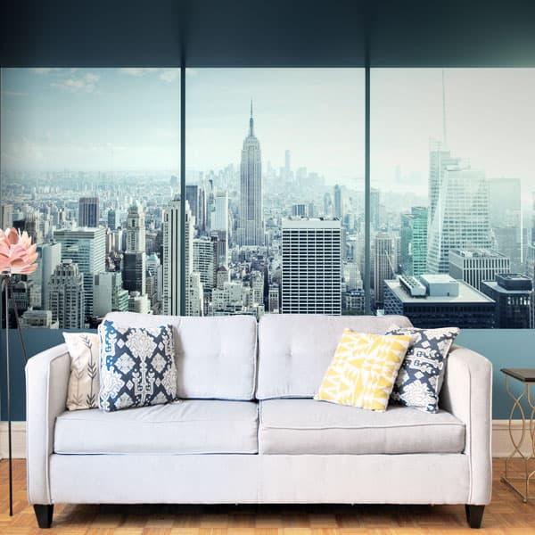 Idée déco salon, panneau mural impression grand format à coller