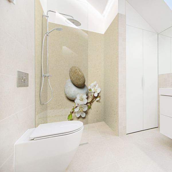 crédence aluminium composite, embellissement douche sans joint, décor minérale
