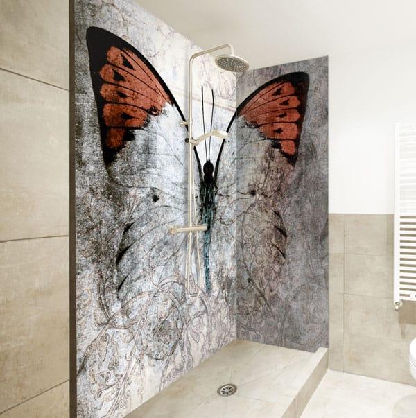 Crédence douche design Butterfly douche, pano deco sur mesure