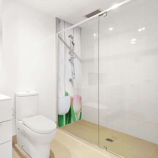 Recouvrir carrelage douche, panneau aluminium composite sur-mesure, décor Tulipes Shabby Chic
