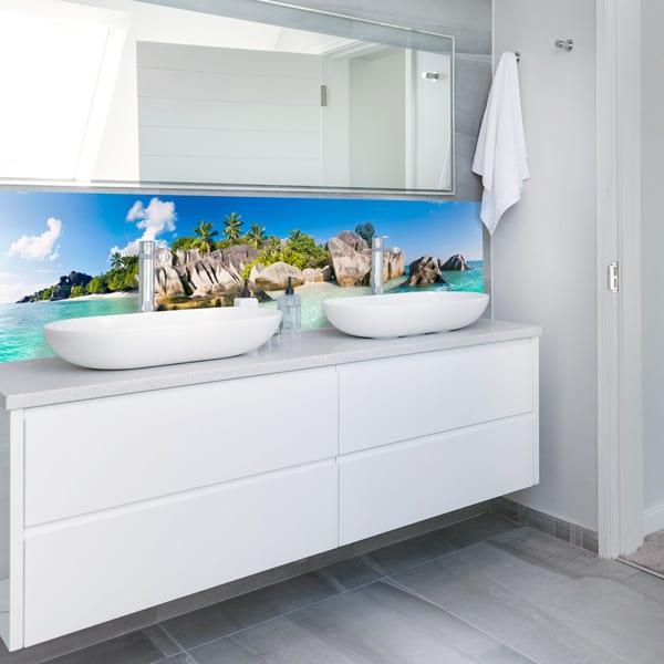 Panneaux en aluminium composite Source, décor paradisiaque, fabrication française, revêtement mural salle de bains