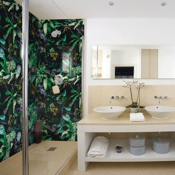 Décor Végétal, trompe-l'œil ambiance Nature panneau de douche