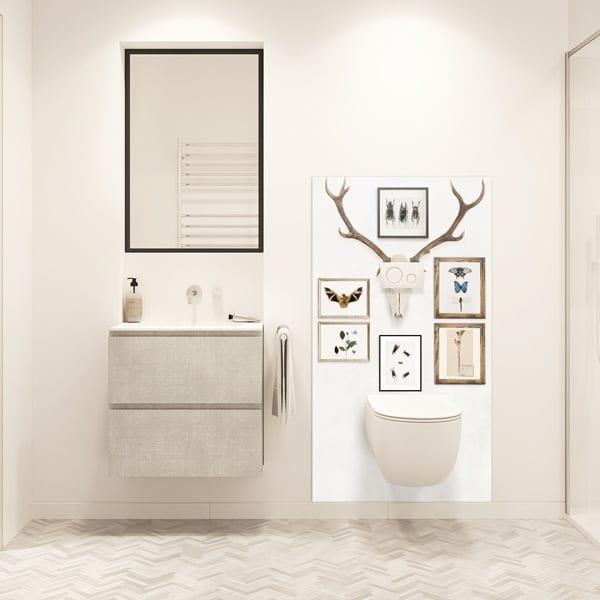 decoration mural salle de bains cabinet de curiosités. panneau étanche sur-mesure