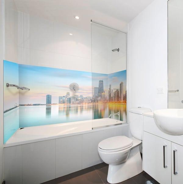 recouvrement mural pour la salle de bains, décor Chicago pour baignoire, Frabrication Française