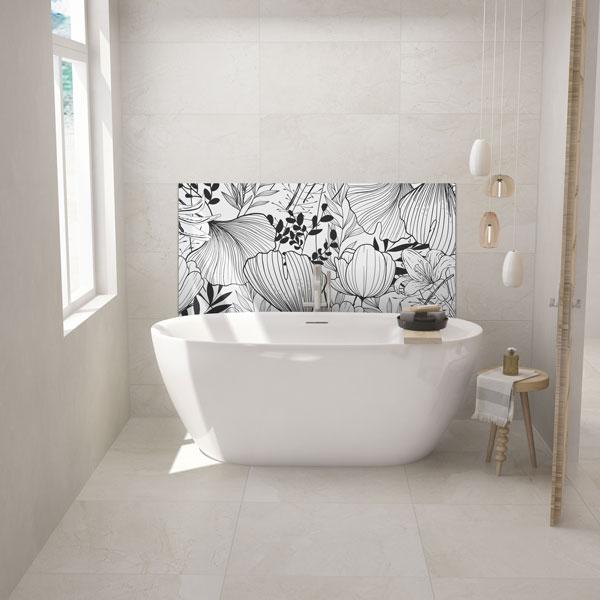 Crédence salle de bains décor Printanier baignoire, panneau en aluminium composite