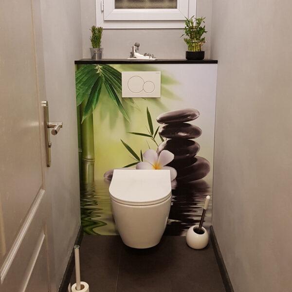 Crédence panneau WC sur-mesure ambiance zen floral