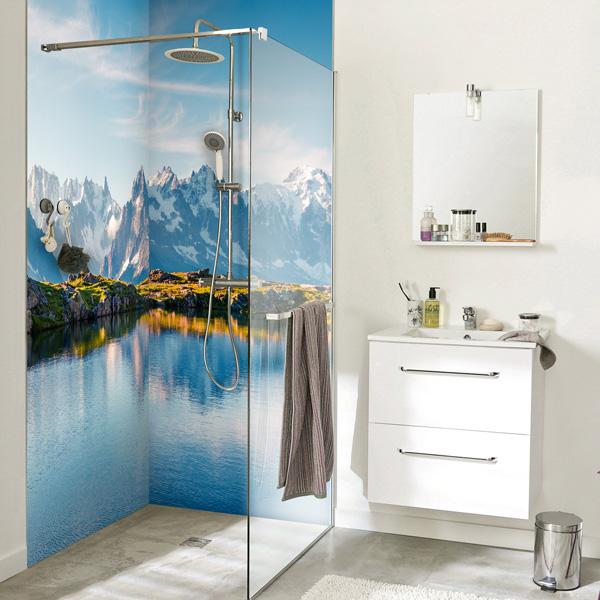 Habillage mural pour la douche, photographie Mont Blanc, sur mesure
